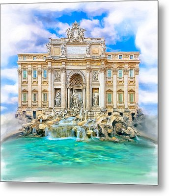La Dolce Vita - The Trevi Fountain In Rome Metal Print by Mark E Tisdale