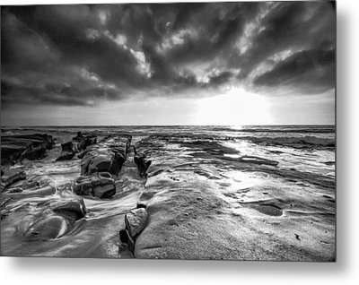 La Jolla In Black And White Metal Print