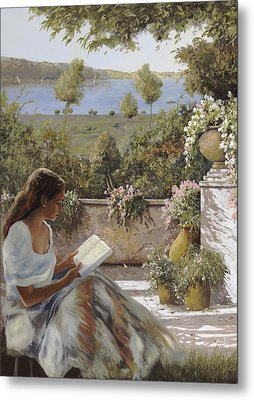 La Lettura All'ombra Metal Print by Guido Borelli