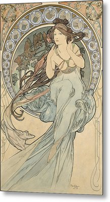 La Musique, 1898 Watercolour On Card Metal Print