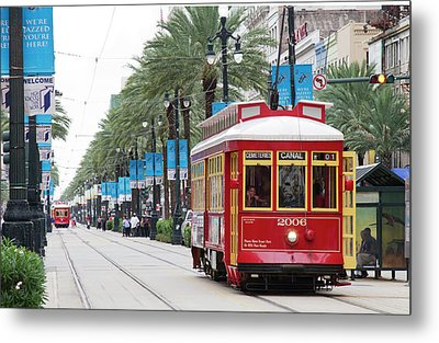 La, New Orleans, Canal Street Trolley Metal Print by Jamie and Judy Wild