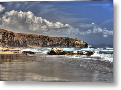 Metal Print featuring the photograph La Pared Cliff And Rocky Beach On Fuertaventura Island by Julis Simo