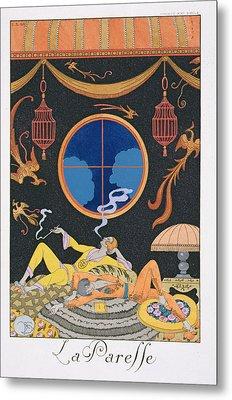 La Paresse Metal Print by Georges Barbier