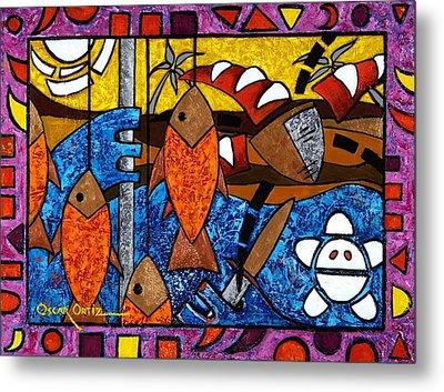 La Pesca Virgen De Un Hombre Honrado Metal Print by Oscar Ortiz