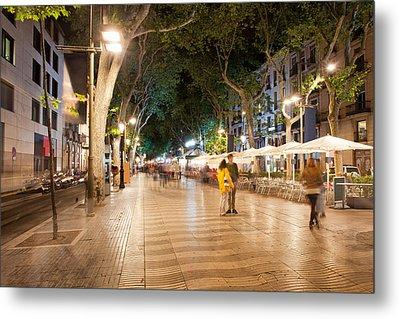 La Rambla At Night  In Barcelona Metal Print