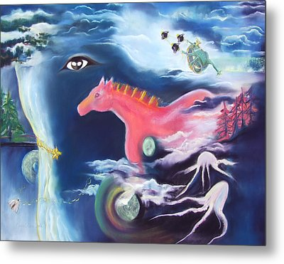 La Reverie Du Cheval Rose Or Dream Quest Of The Pink Horse. Metal Print by Marie-Claire Dole