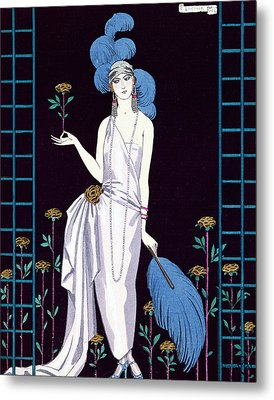 'la Roseraie' Fashion Design For An Evening Dress By The House Of Worth Metal Print by Georges Barbier
