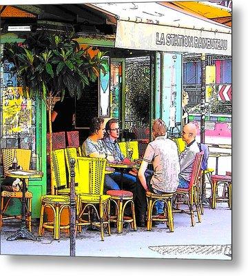 La Station Rambuteau Wine Drinkers Metal Print by Jan Matson