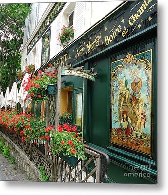 La Terrasse In Montmartre Metal Print by Barbie Corbett-Newmin