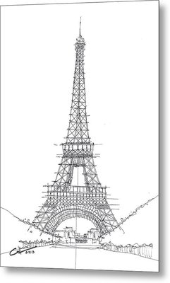 Metal Print featuring the drawing La Tour Eiffel Sketch by Calvin Durham