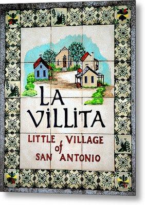 La Villita Tile Sign On The Riverwalk San Antonio Texas Watercolor Digital Art Metal Print