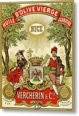 Label For Vercherin Extra Virgin Olive Oil Metal Print by French School