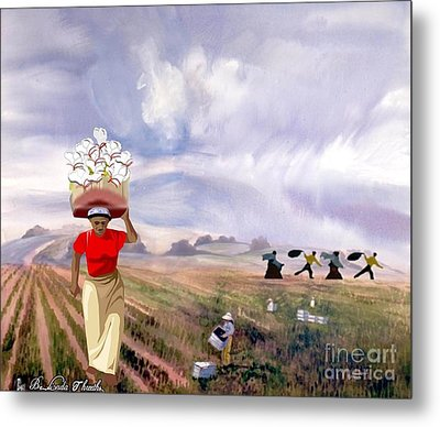 Laboring In The Fields Metal Print by Belinda Threeths