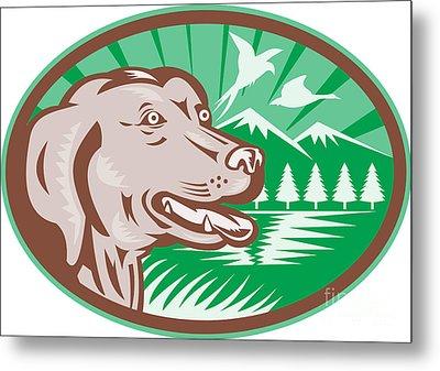 Labrador Retriever Hunting Dog Retro Metal Print by Aloysius Patrimonio