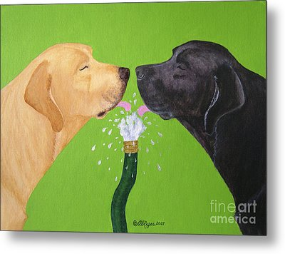 Labs Like To Share 2 Metal Print