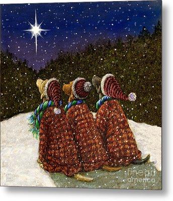 Labs Under The Christmas Star Metal Print by Kathleen Harte Gilsenan