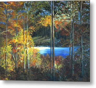 Metal Print featuring the painting Lac Fortune Gatineau Park Quebec by LaVonne Hand
