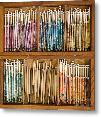 Lace Bobbins Metal Print by Liz  Alderdice