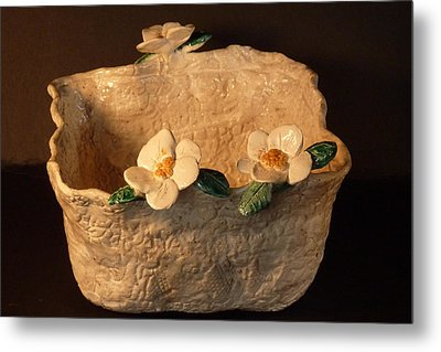 Lace Bowl Sculpture Metal Print