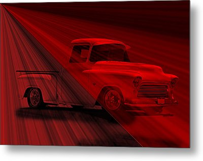 Lace Curtains 1956 Chevy Pick Up Metal Print by Dave Koontz