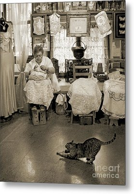 Metal Print featuring the photograph Lace Lady Of Burano-bw by Jennie Breeze