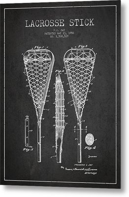 Lacrosse Stick Patent From 1950- Dark Metal Print