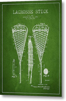 Lacrosse Stick Patent From 1950- Green Metal Print by Aged Pixel