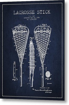 Lacrosse Stick Patent From 1950- Navy Blue Metal Print