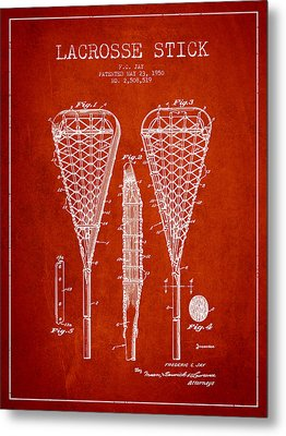 Lacrosse Stick Patent From 1950- Red Metal Print