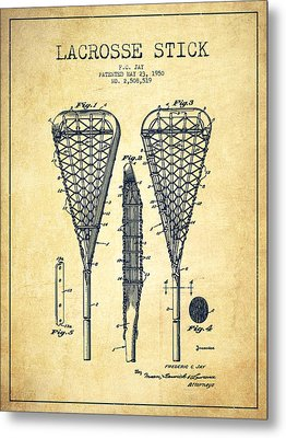 Lacrosse Stick Patent From 1950- Vintage Metal Print by Aged Pixel