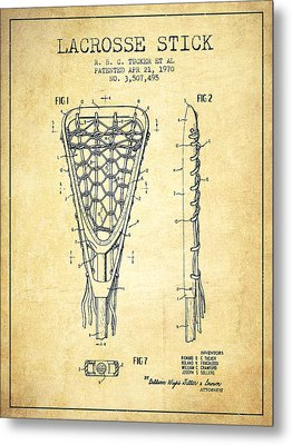 Lacrosse Stick Patent From 1970 -  Vintage Metal Print