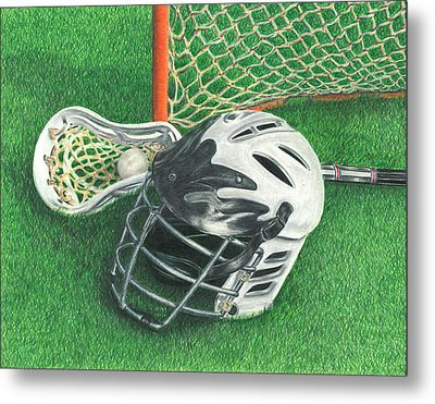 Lacrosse Metal Print by Troy Levesque