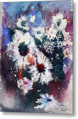 Metal Print featuring the painting Lacy Petals by Joan Hartenstein