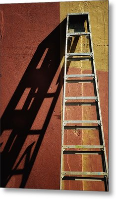 Ladder And Shadow On The Wall Metal Print by Gary Slawsky