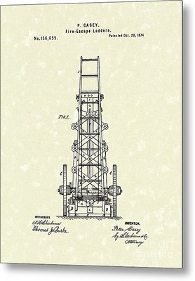 Ladders 1874 Patent Art Metal Print by Prior Art Design
