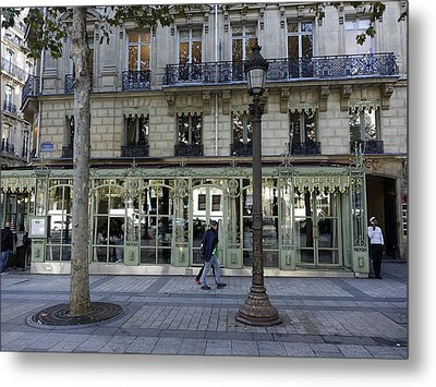 Laderee On The Champs De Elysees In Paris France  Metal Print by Richard Rosenshein