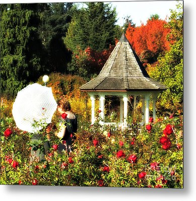 Ladies In Rose Garden Metal Print