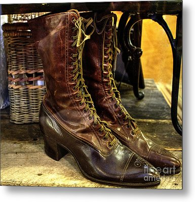Ladies Lace-ups Metal Print