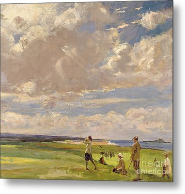 Lady Astor Playing Golf At North Berwick Metal Print by Sir John Lavery