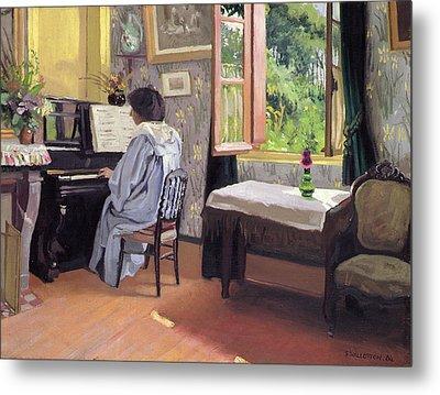 Lady At The Piano Metal Print by Felix Edouard Vallotton