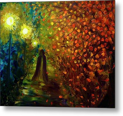 Metal Print featuring the painting Lady Autumn by Lilia D