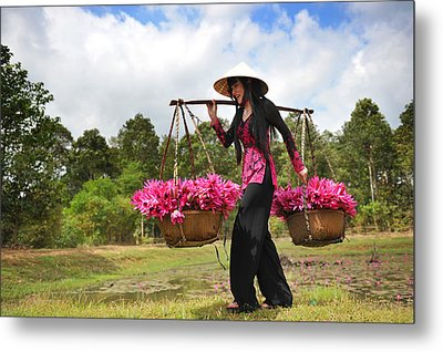 Lady Caries Lotus Flowers Metal Print by Dung Ma