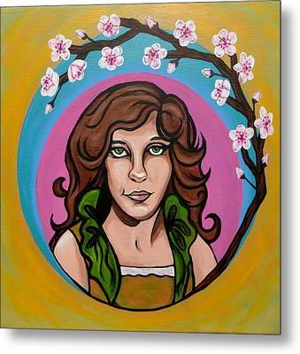 Lady Cherry Blossom Metal Print by Sarah Crumpler