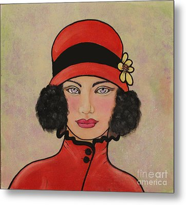 Lady In A Red Hat Metal Print