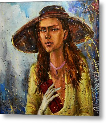 Lady In Hat Metal Print by Oleg  Poberezhnyi