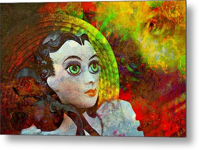 Metal Print featuring the mixed media Lady In Red by Ally  White