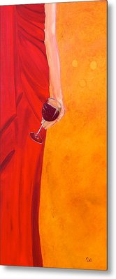 Lady In Red Metal Print by Debi Starr