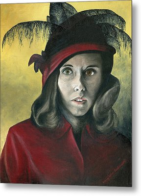 Metal Print featuring the painting Lady In Red by Mary Ellen Anderson