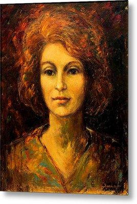 Lady In Red Metal Print by    Michaelalonzo   Kominsky