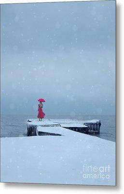 Lady In Red On Snowy Pier Metal Print
